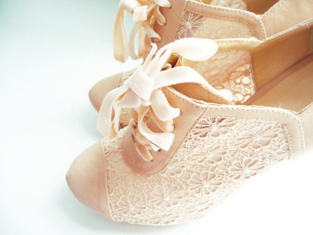 702cdddfa11 shoes lace ivory beige bow cute high heels flowers beautifull nude nude high  heels