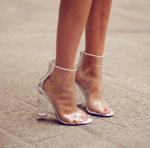 shoes perspex clear see through boots heels wheretoget