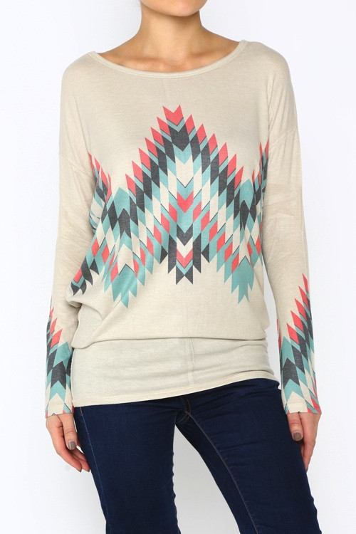Geo print dolman fit top – betsy boo's boutique