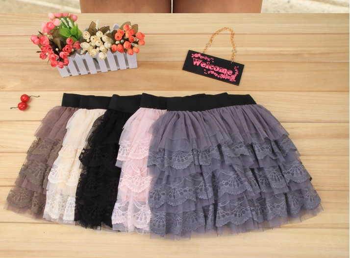 Beautiful laciness pompon skirt coffee china wholesale