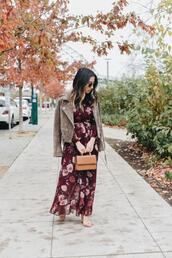 crystalin marie,blogger,dress,shoes,bag,jacket,sunglasses,maxi dress,floral dress,suede jacket,fall outfits