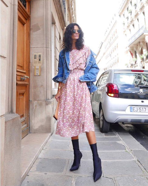 214ab66d508 jacket tumblr blue jacket denim jacket denim dress floral floral dress midi  dress boots black boots
