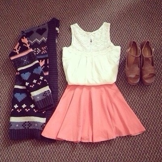 skirt sweater shoes shirt skater skirt salmon
