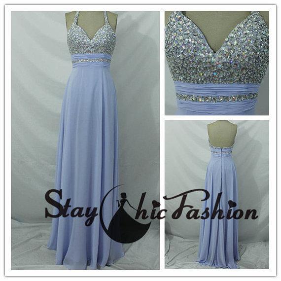Lavender long rhinestone beaded halter top chiffon prom dress for sale