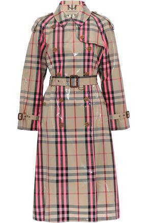 Burberry Woman Checked Glossed Cotton-blend Trench Coat Bright Pink Size 8