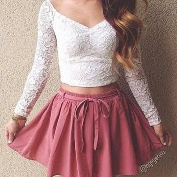 white lace top white sweater skirt blouse