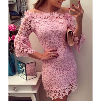 dress pale pink dress sexy dress crochet short tight dress off the shoulder bardot lace dress