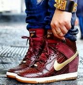 shoes,nike dunks,wedges,gold,burgundy,snake skin,snake skin print