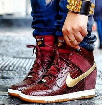 shoes nike dunks wedges gold burgundy snakeskin snake skin print