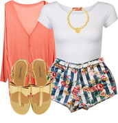 shorts,floral,bows,coral,shoes