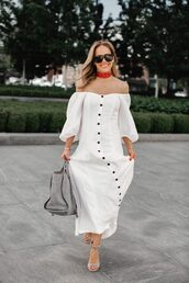 dress,maxi dress,white dress,button up,bag,high heels,off the shoulder,sunglasses