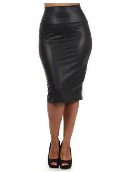 What Is Leather Made Of >> OM Leather Look Midi Skirt | Outfit Made