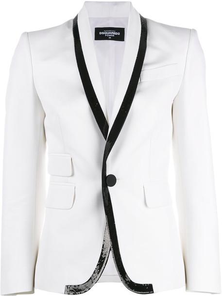 Dsquared2 jacket women beaded white cotton silk