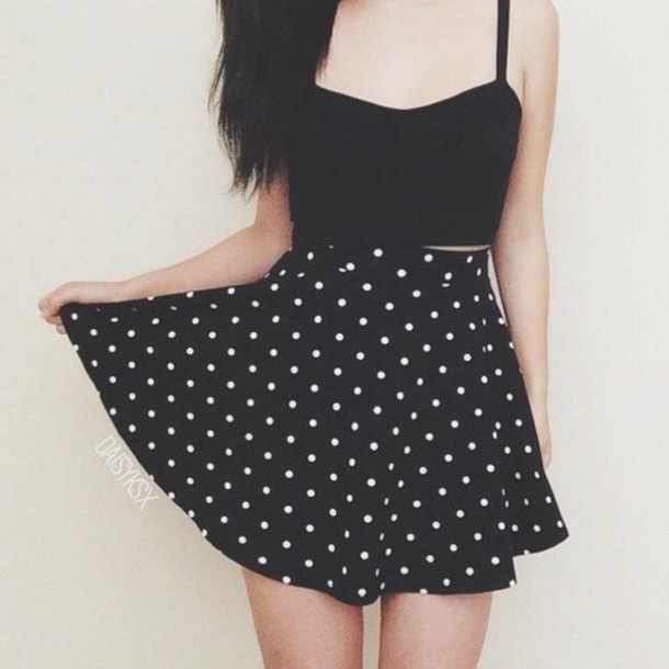 skirt polka dots black white cute crop tops