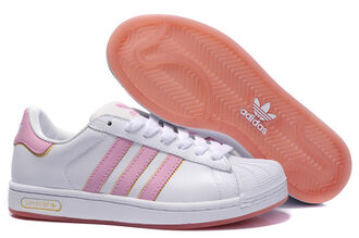 shoes pink white adidas superstar gold stripes trainers grunge lolita sporty tumblr laces