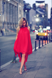 dress,tumblr,midi dress,red dress,halter neck,halter dress,asymmetrical dress,asymmetrical,sandals,sandal heels,high heel sandals,Silver sandals,party dress