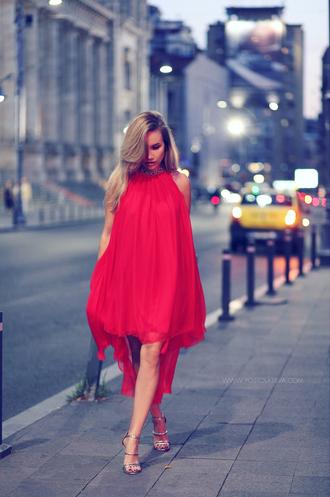 dress tumblr midi dress red dress halter neck halter dress asymmetrical dress asymmetrical sandals sandal heels high heel sandals silver sandals party dress