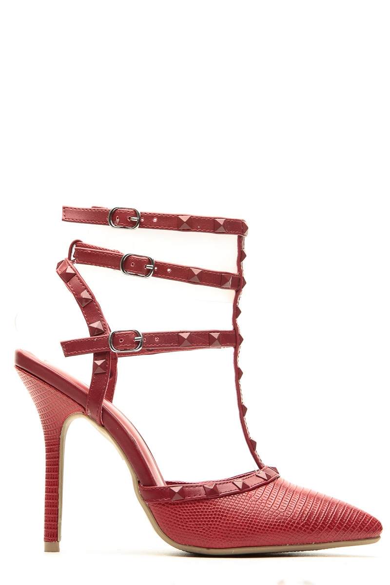 Red faux snake skin studded pointed toe single sole heels @ cicihot heel shoes online store sales:stiletto heel shoes,high heel pumps,womens high heel shoes,prom shoes,summer shoes,spring shoes,spool heel,womens dress shoes