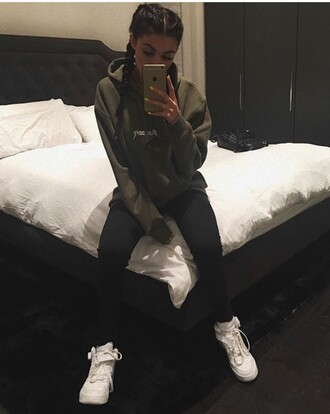 sweater green shoes green sweater celebrity style kylie jenner black leggings baggy green hoodie olive green hoodie army green jumper stylish style cute tumblr outfit tumblr leggings dark green