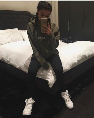 sweater green shoes green sweater celebrity style kylie jenner black leggings