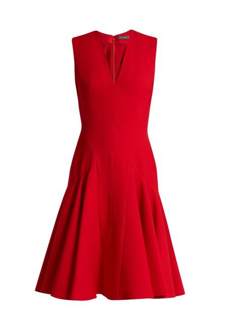 Alexander Mcqueen dress sleeveless silk wool red