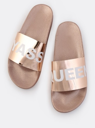 shoes girly slide shoes flats sliders gold