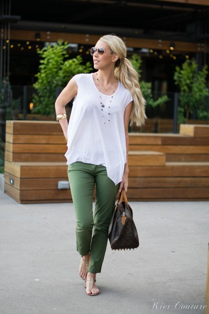 fashion addict blogger khaki pants white top top pants shoes bag jewels