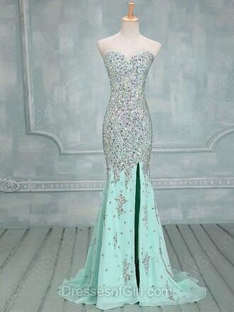 dress mint sparkle slit dress strapless fashion style beautiful glitter dressofgirl