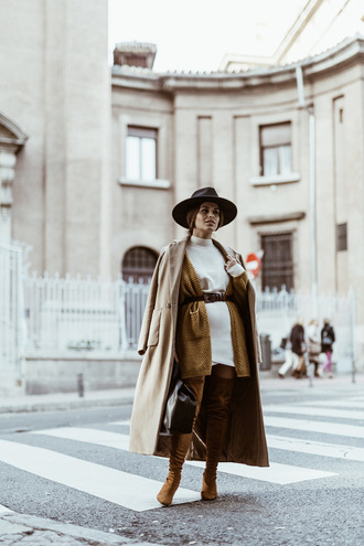 seams for a desire blogger coat cardigan sweater skirt shoes hat jewels bag belt shorts dress winter outfits fall outfits beige coat boots brown boots over the knee boots sweater dress