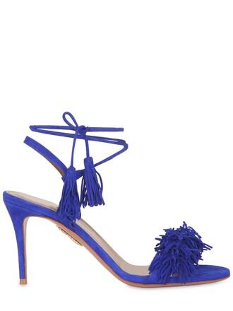 sandals suede blue royal blue shoes