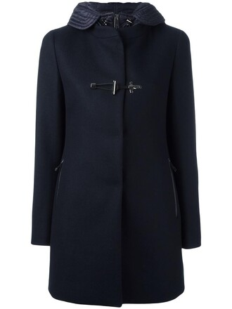 coat double breasted women blue wool