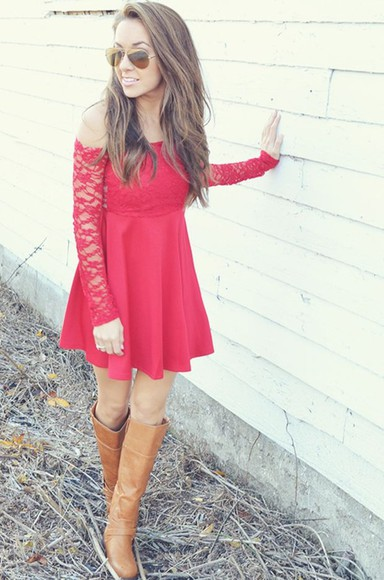 dress red dress off the shoulder dress lace sleeves