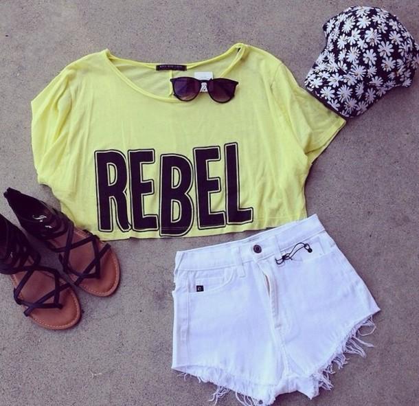 shirt t-shirt crop tops yellow neon graphic tee graphic crop tops sunglasses shorts white daisy lowe daisy summer outfits summer outfits hat shoes