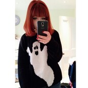 sweater,ghost,goth hipster,black,white,halloween costume,halloween