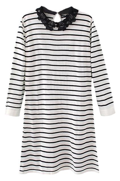 ROMWE | Lace Collar Striped Slim Autumn Dress, The Latest Street Fashion