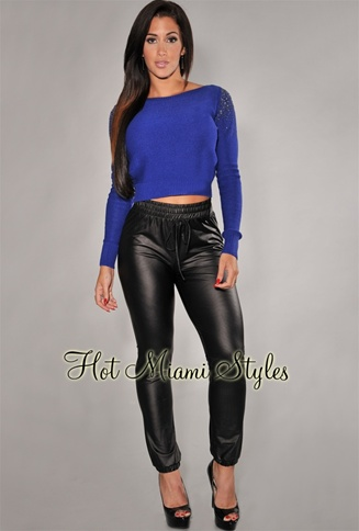 Black Faux-Leather Jogger Pants