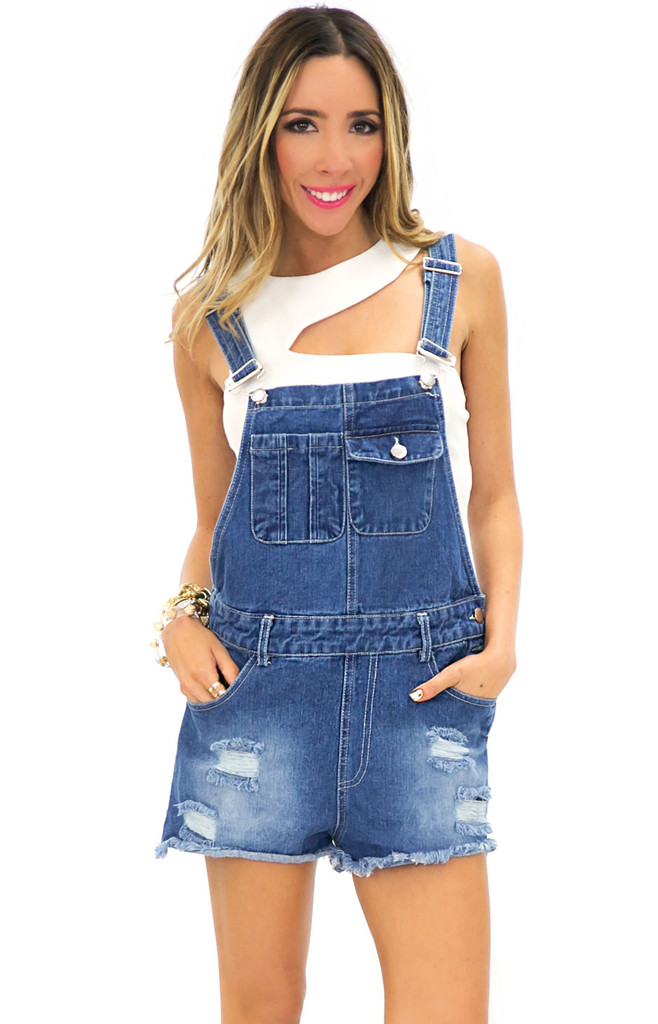 DENIM OVERALL SHORTS | Haute & Rebellious