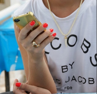 t-shirt ring necklace nail polish iphone case jewels shirt marc jacobs marc by marc jacobs earphones