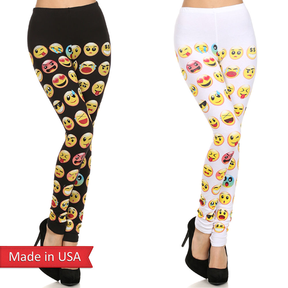 Women Emoji Facial Expression Face Icon Print Cotton Leggings Tights Pants USA