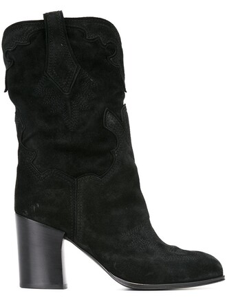 jacquard boots black shoes