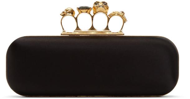 Alexander Mcqueen clutch black satin bag
