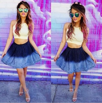 ombre denim skirt flare skirt ombre hair hairstyles mirrored sunglasses white crop tops tie dye tie dye skirt