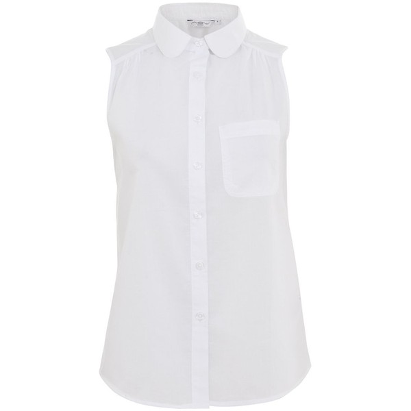 Peter Pan Collar Sleeveless Shirt - Polyvore