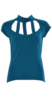 shirt,women sleeveless back & front cage cut out polo neck top  teal