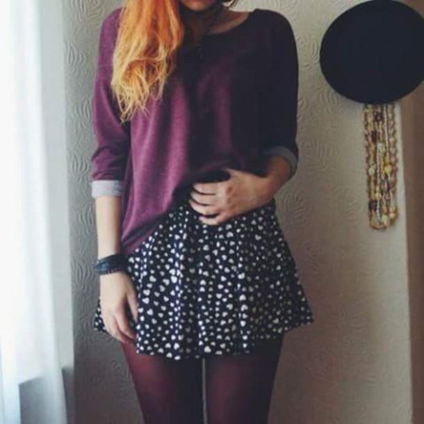 skirt jupe noire motif coeur jupe taille haute jupe. Black Bedroom Furniture Sets. Home Design Ideas