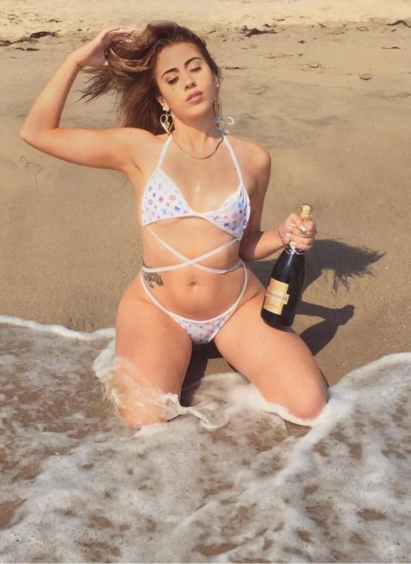swimwear, kali uchis, white bikini, bikini, beach towel