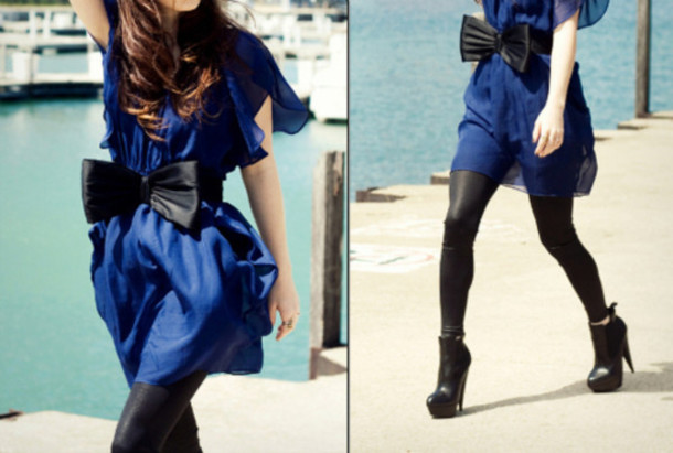 Blue Black Dress with Leggings