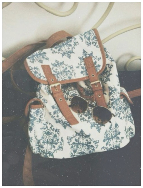 bag rucksack backpack blue brown white vintage retro fashion