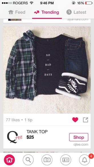 cardigan green and black plaid planele no bad days shirt