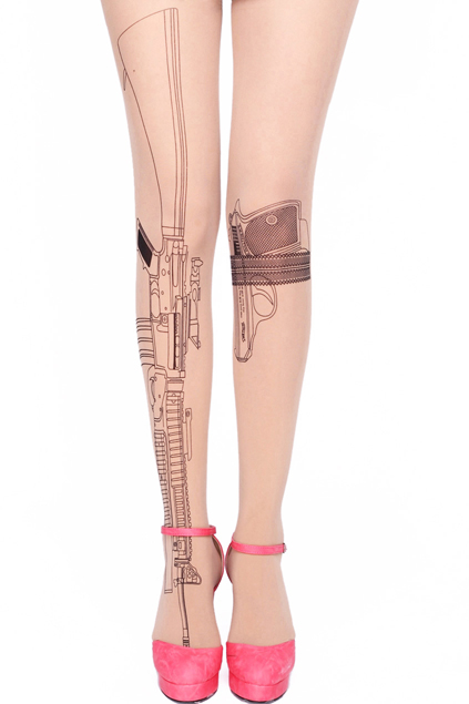 ROMWE | Gun Print Nude Tights, The Latest Street Fashion